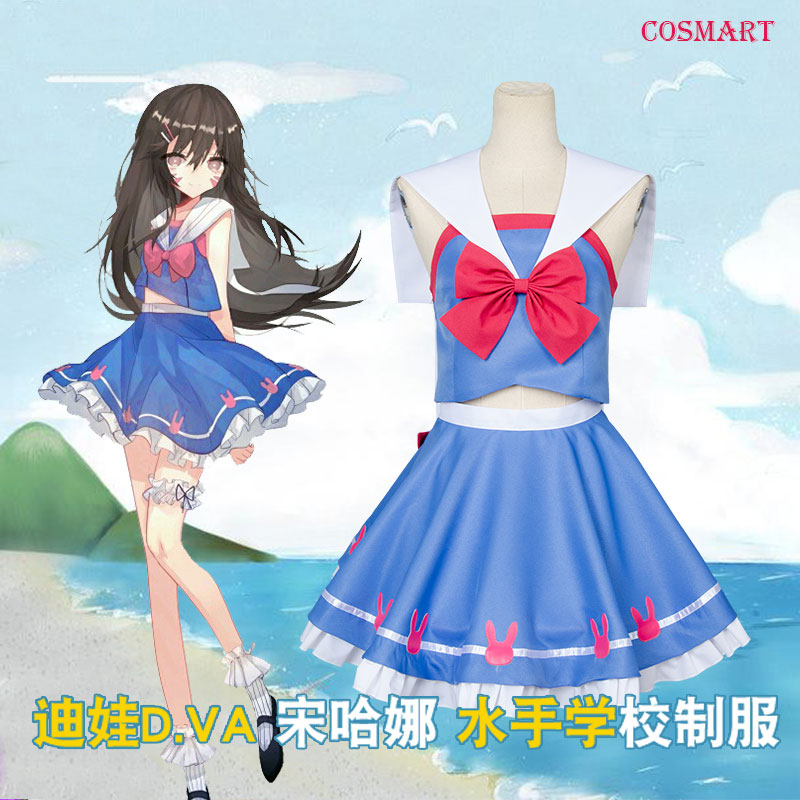 Game OW D.Va DVA Hana Song Cosplay Costume Sailor Suit School Uniform Carnival Halloween for Women Girls Free shipping