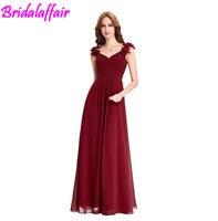 Wine Red Long Chiffon dress Cheap vestido de festa longo Floor Length Wedding Bridesmaid Gown Formal Burgundy Dress bridesmaid