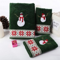 3 pçs/set verde 100% algodão toalhas de banho de veludo toalha dos desenhos animados do boneco de neve de natal bordado grosso absorvente festival de alimentação
