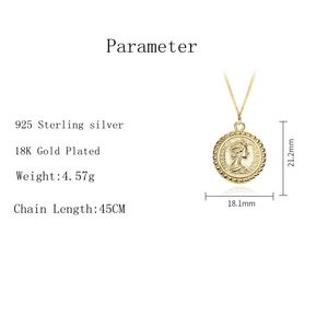 Image 4 - Silvology 925 Sterling Silver Round Figure Pendant Necklace Gold Vintage wild Coin Elegant Necklace For Women Fine Jewelry Gift
