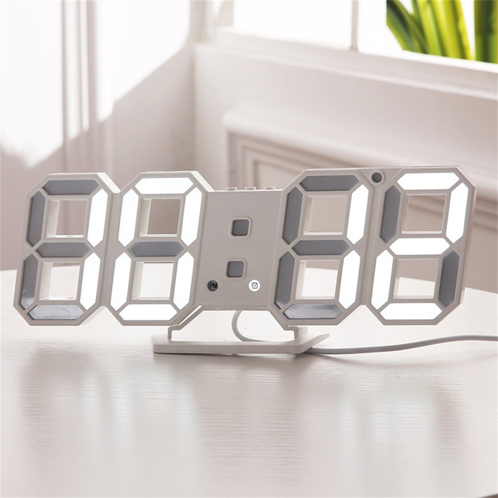 Digital Wall Clock 3D LED Alarm Clock Electronic Desk Clocks With Large Temperature 12/24 Hour Display