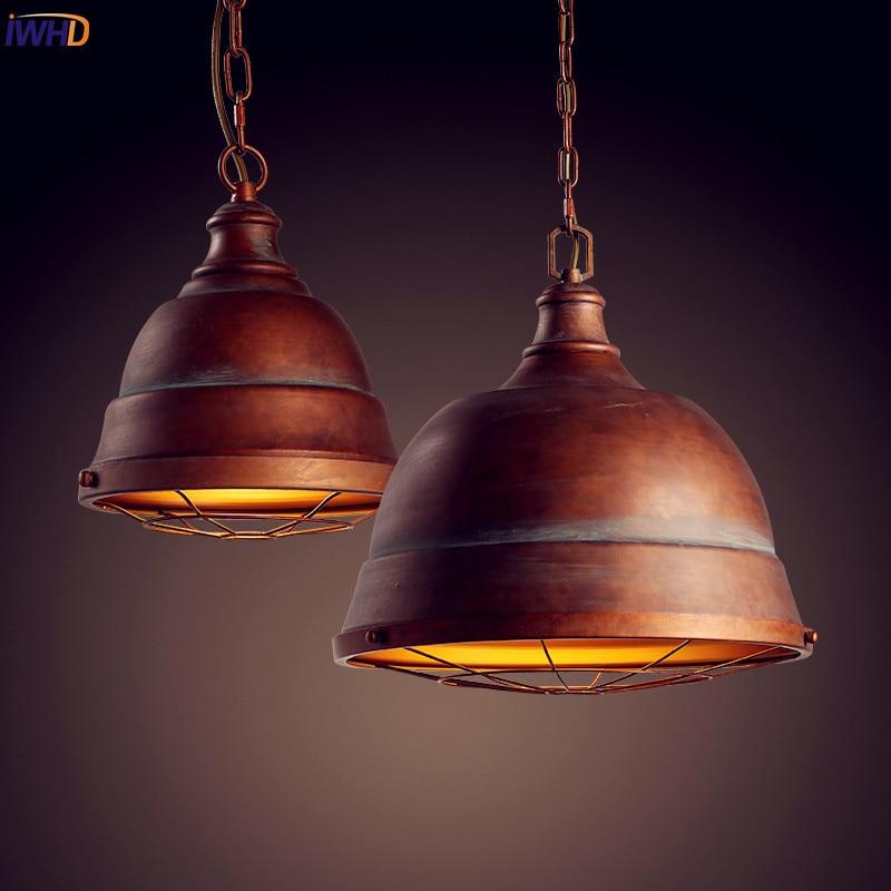 IWHD American Industrial Pendant Lighting Fixtures Dinning Room Edison Light Style Loft Vintage Lamp Edison Lamparas Hanglamp 2pcs lamparas retro loft style lampe vintage light industrial lamp pendant lights fixtures edison hanglamp dinning room