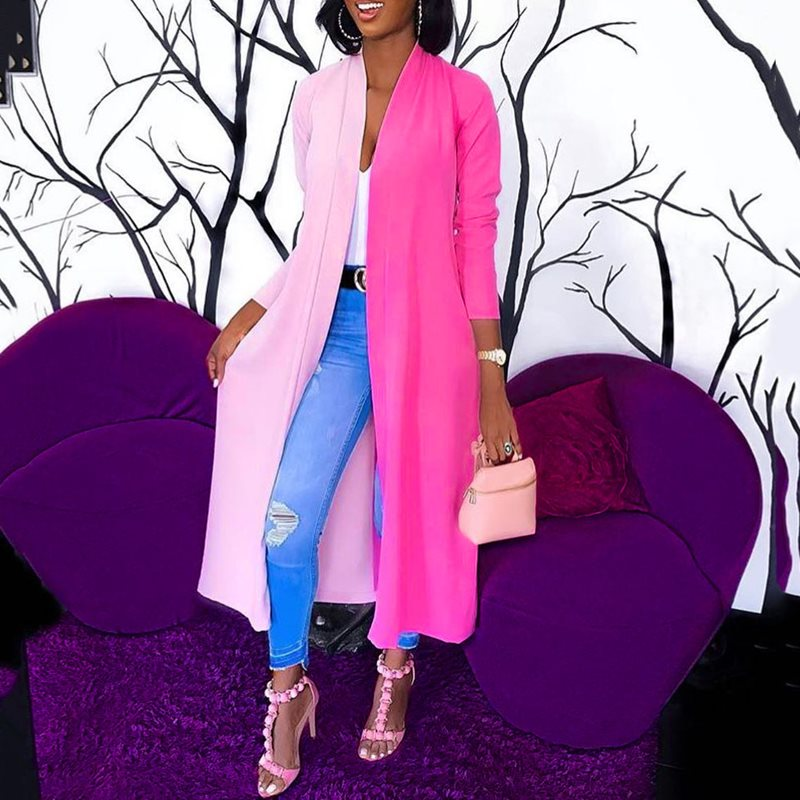 Summer Sexy Casual Pink Elegant Plus Size Women   Trench   Coats Straight Wrapped Colorful Long Overcoats African Fashion Outwear