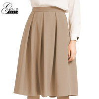 Gold Hands Oversize Women Knee length Pleated Sweet Skirt Large Size Female Elegant Empire Solid Brief A line Skirts Office Lady