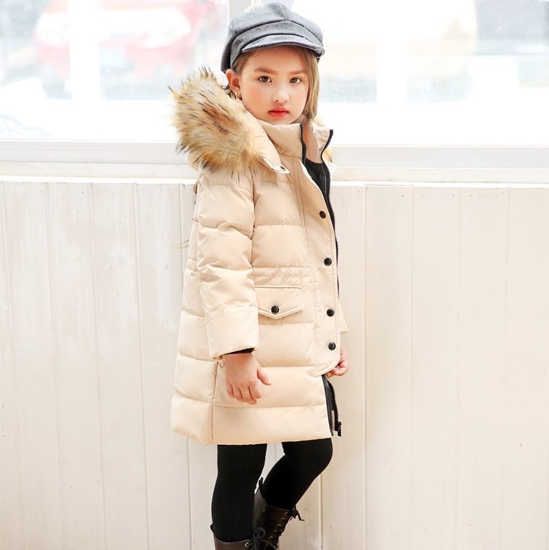 OLEKID 2018 Winter Jacket For Girls Brand Fur Collar Hooded Long Children Down Jacket 2-12 Years Kids Teenage Outerwear Coat fashion children winter coat long down jacket for girl long parkas kids hooded color raccoon fur collar coat zipper outerwear