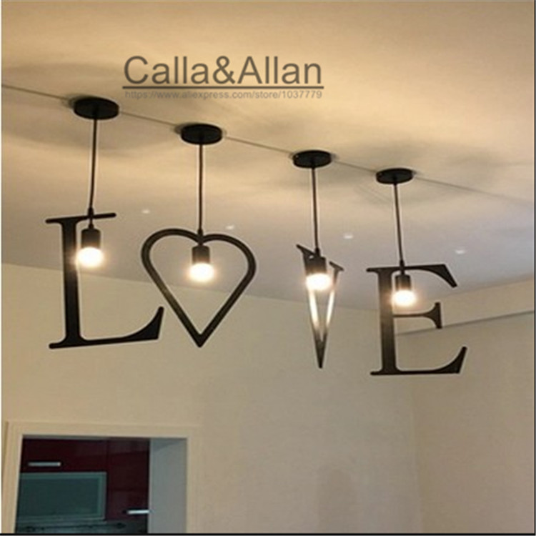 Free shipping ABC Alphabet iron Pendant light LOVE for wedding decoration combination of simplicity lamp for shop display window classic candlestick hollow iron art lamp for romantic wedding home decoration