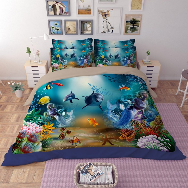 Aliexpress buy free shipping novelty gift underwater world free shipping novelty gift underwater world fish shark dolphin coral pattern bedding set quilt duvet cover gumiabroncs Gallery