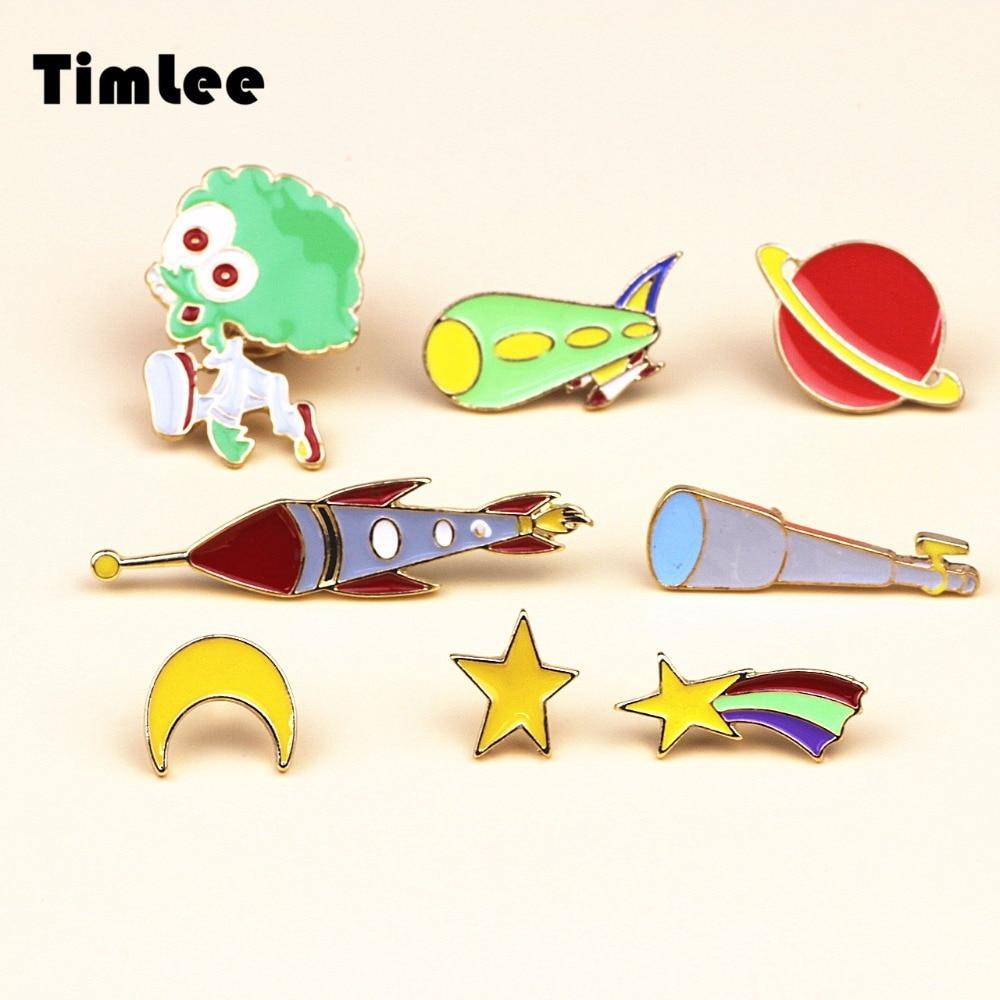 Timlee X082 Free shipping Cute <font><b>Meteor</b></font> Alien Telescope Airship <font><b>Rocket</b></font> Red Planet Star Moon Brooch Pins,Fashion Jewelry Wholesale