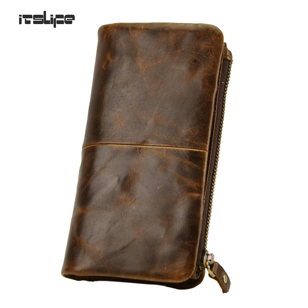 New first layer of real leather men 39 s oil wax leather for Yamaha leather wallet