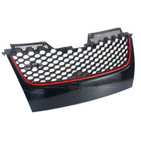 Black Main Upper Hex Mesh Grill Grilles W Red Trim For VW MK5 Jetta GTI 2006