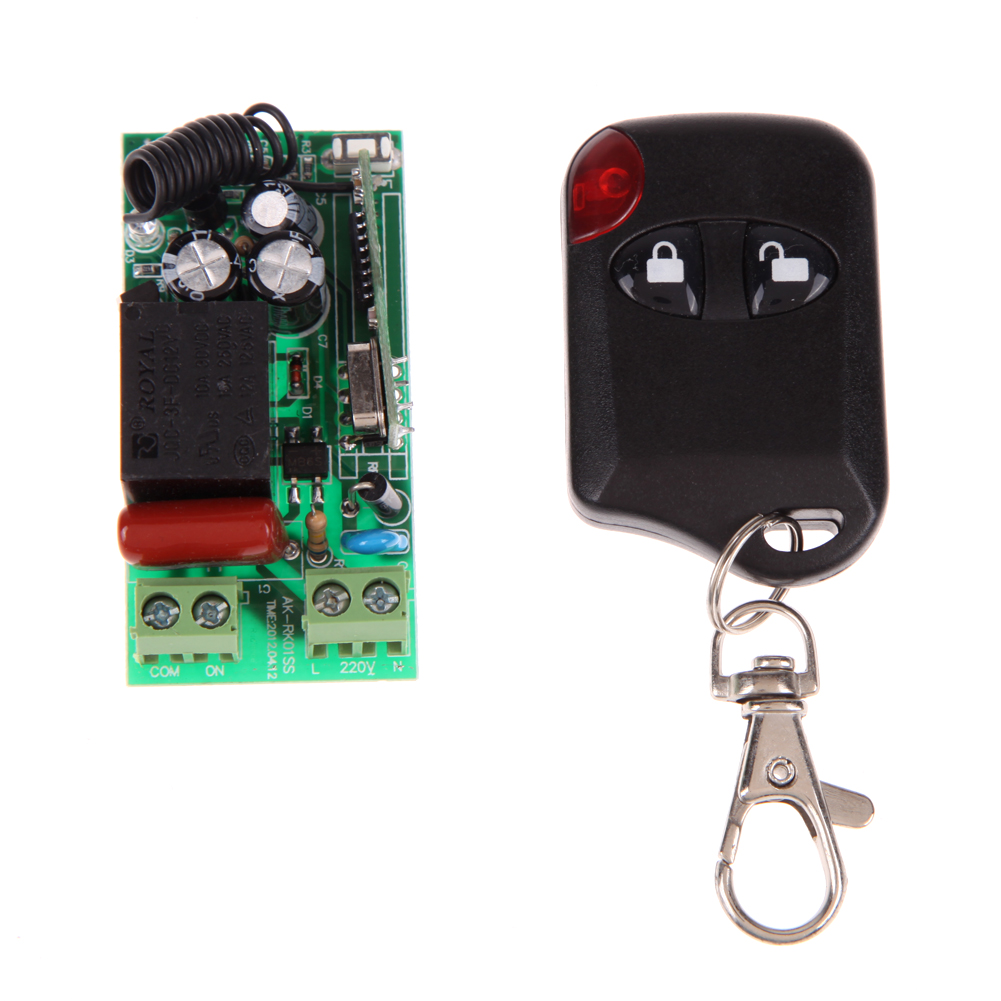 AC180-240V 315MHz 433MHz Remote Control Switch Module Circuit Board with 2-Button Remote Control Entrance Guard Door ac 380v 63a 3 pole 2 knife switch circuit control opening load switch