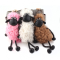 Sheep Shaun Key chain Pompom real lambs wool fur genuine keychain wool sheep woollen Pendant natural fur women's bags hangings