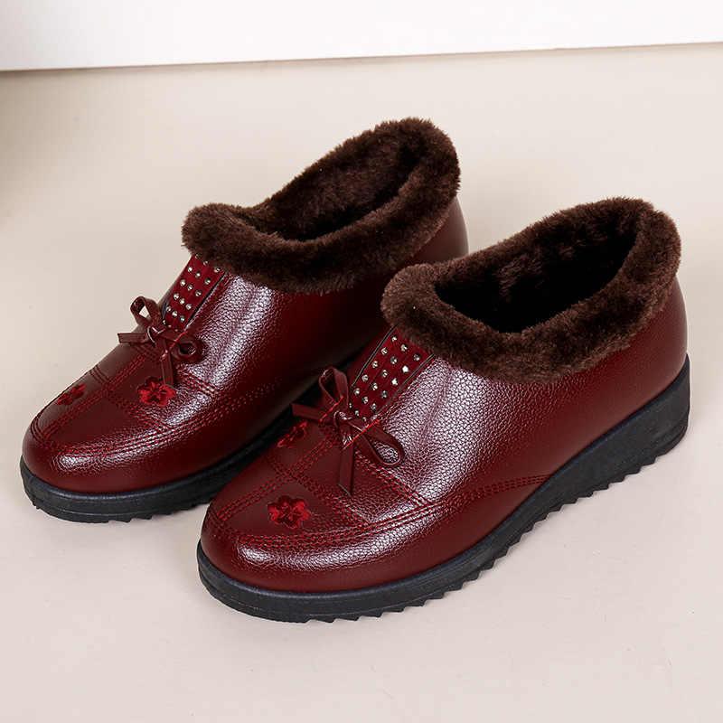 Kar botları kelebek yay-düğüm yarım çizmeler kadınlar için kama platformu çizmeler kış ayakkabı botas mujer invierno 2019 anne ayakkabısı