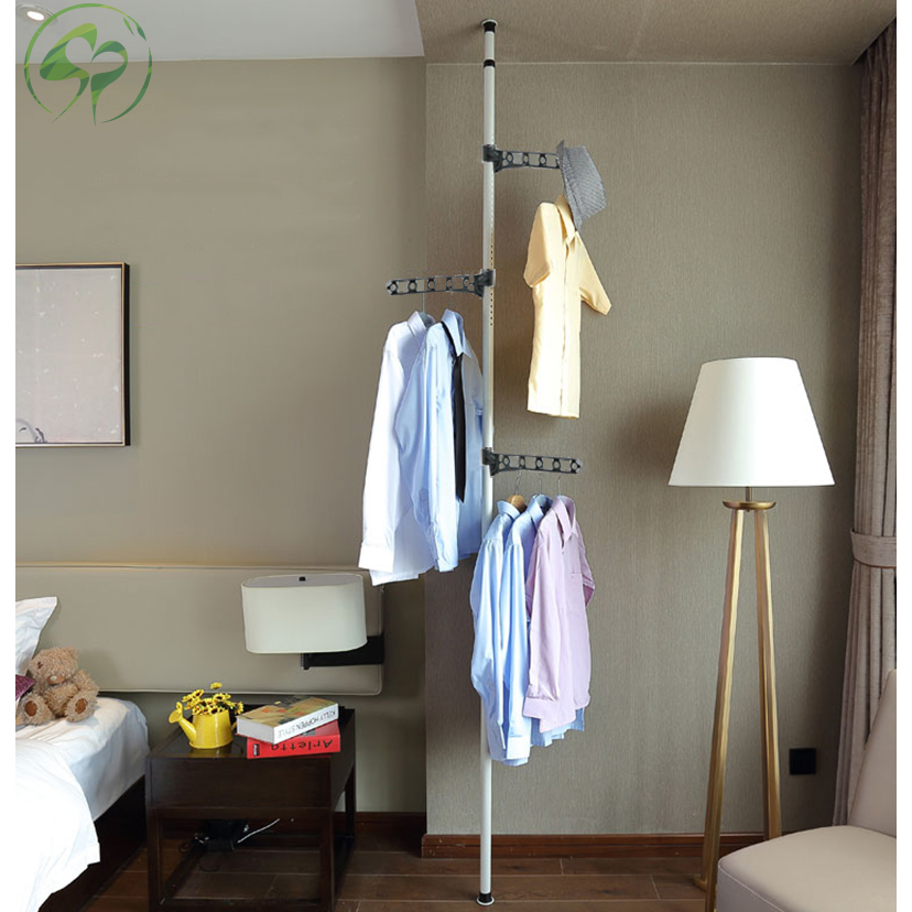 Image 4 - Floor to Ceiling Coat Rack Clothes Drying with Standing Type Clothing Hanger Free Standing With 4 Hooks Wood Tree Coat Rack-in Coat Racks from Furniture