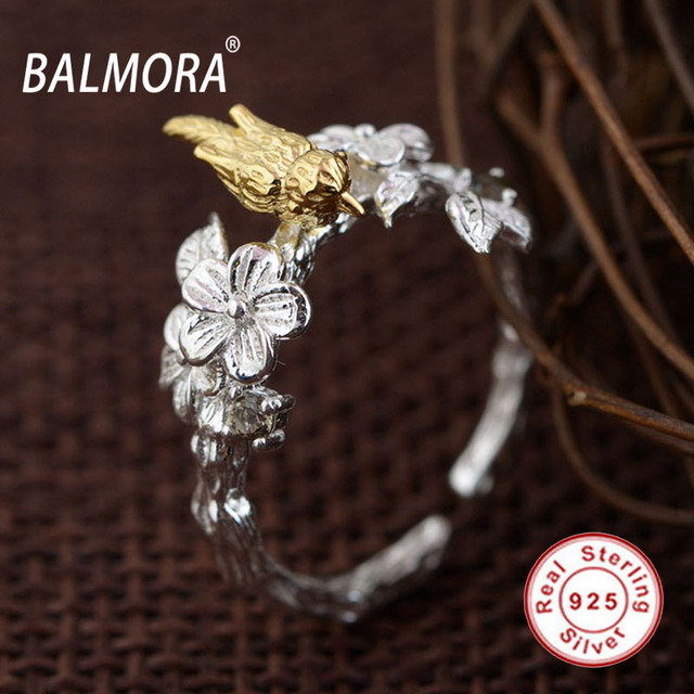 BALMORA Cute Bird & Flower 100% Real 925 Sterling Silver Jewelry Open Rings for Women Lover Gifts Accessories Anillos SY21572