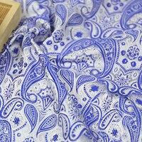 Новые модные синие жаккардовые ткани в африканском стиле атласные шелковые ткани для пэчворка, торжественное платье, обивка дивана Скрапбу...