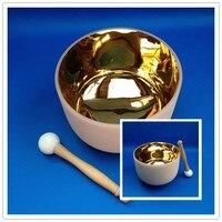 24 К золото кристалл кварца Поющая чаша с цветок жизни 8 дюймовый F Примечание для сердца чакры