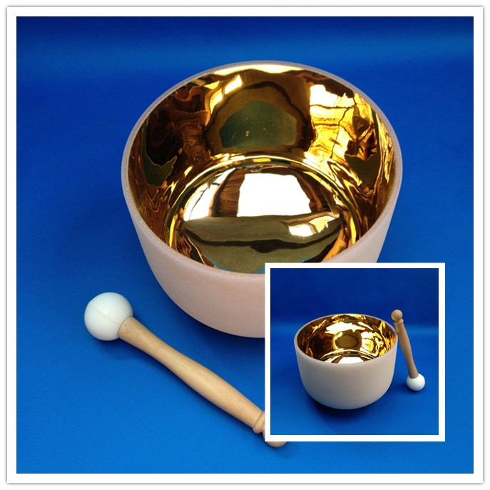 24k gold Quartz Crystal Singing Bowl with flower of life 8 Inch F note for Heart chakras heart of gold