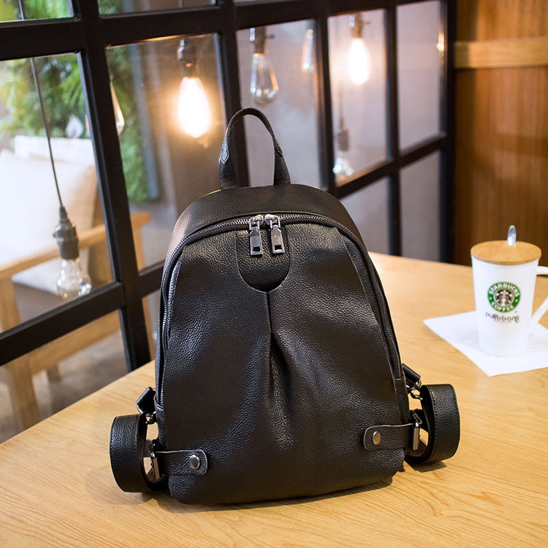 Women's new wild Oxford cloth with leather shoulder bag Simple Korean children's fashion wind bag leather backpack