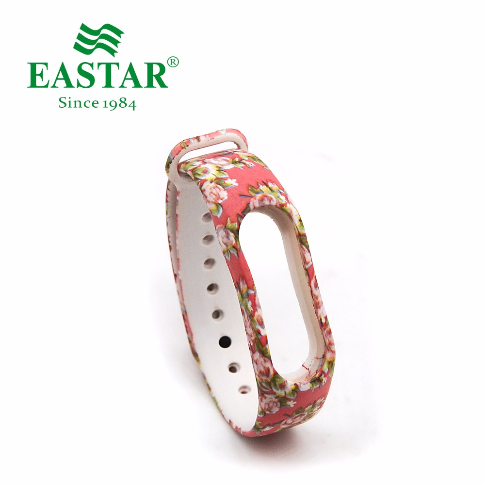 Eastar Smart Watch Accessories Strap For XiaoMI Band Colorful Replacement Wristbands Pink Flower Silicone Band For Mi Band 2 eache silicone watch band strap replacement watch band can fit for swatch 17mm 19mm men women