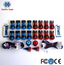 Arcade Kit LED 16 X Lit Push Buttons + 1P 2P Player Start Buttons + LED PC Encoder For Windows System & Raspberry Pi Project цена и фото