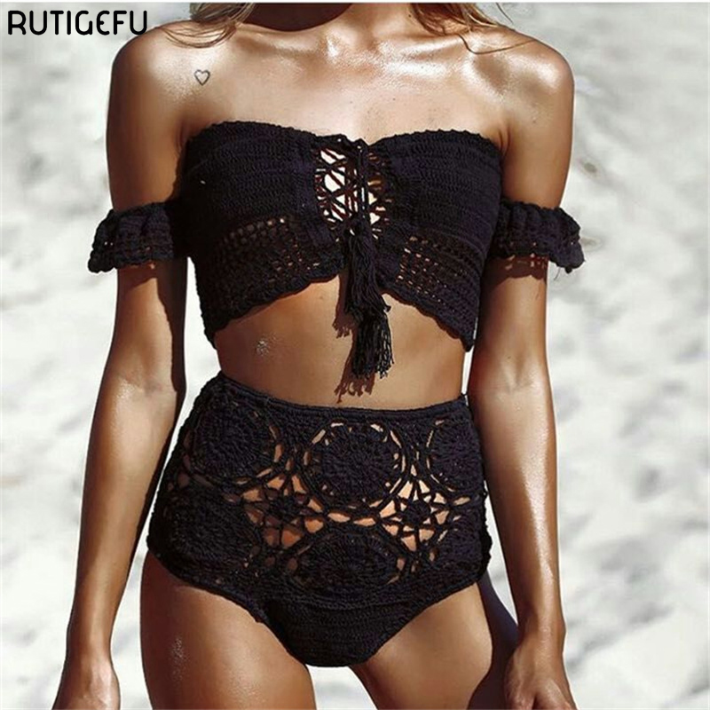 RUTIGEFU new knitted word shoulder height waist bikini lady retro lotus leaf hollow crochet swimsuit beach bath bikini suit