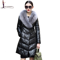 Women Leather Down Jacket Ladies Autumn Fox Fur Overcoat Female Warm Leather Winter Long Sheepskin Parkas Lady Sheep Coat Xy604