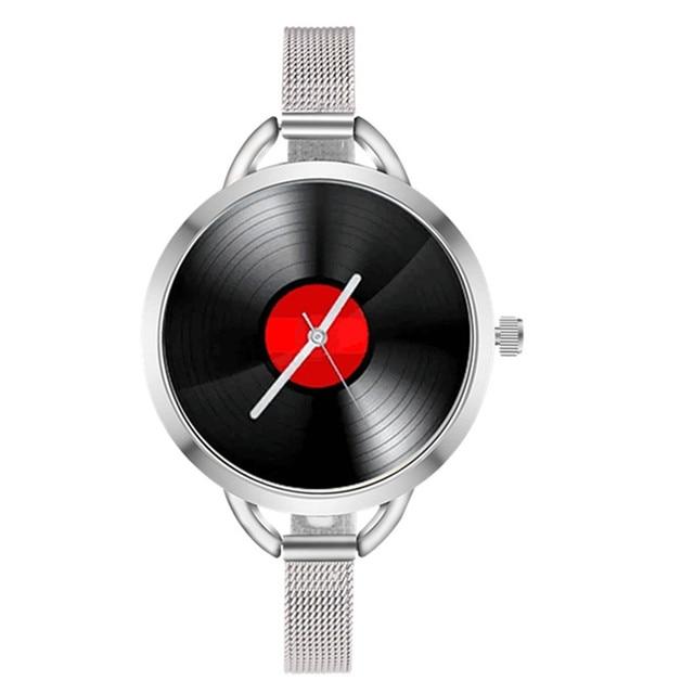 2018 Creative Watch Women Fashion Record Shape Plating Alloy Analog Quartz Watch