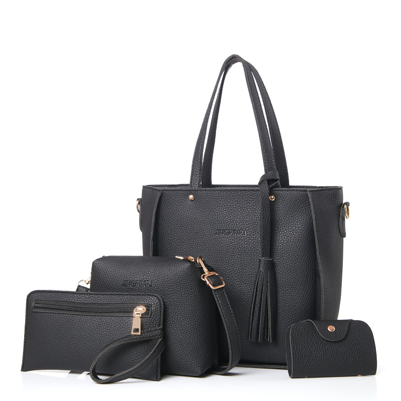 HTB1uthiX.l7MKJjSZFDq6yOEpXal - Women Bag Set Top-Handle Big Capacity Female Tassel Handbag Fashion Shoulder Bag Purse Ladies PU Leather Crossbody Bag