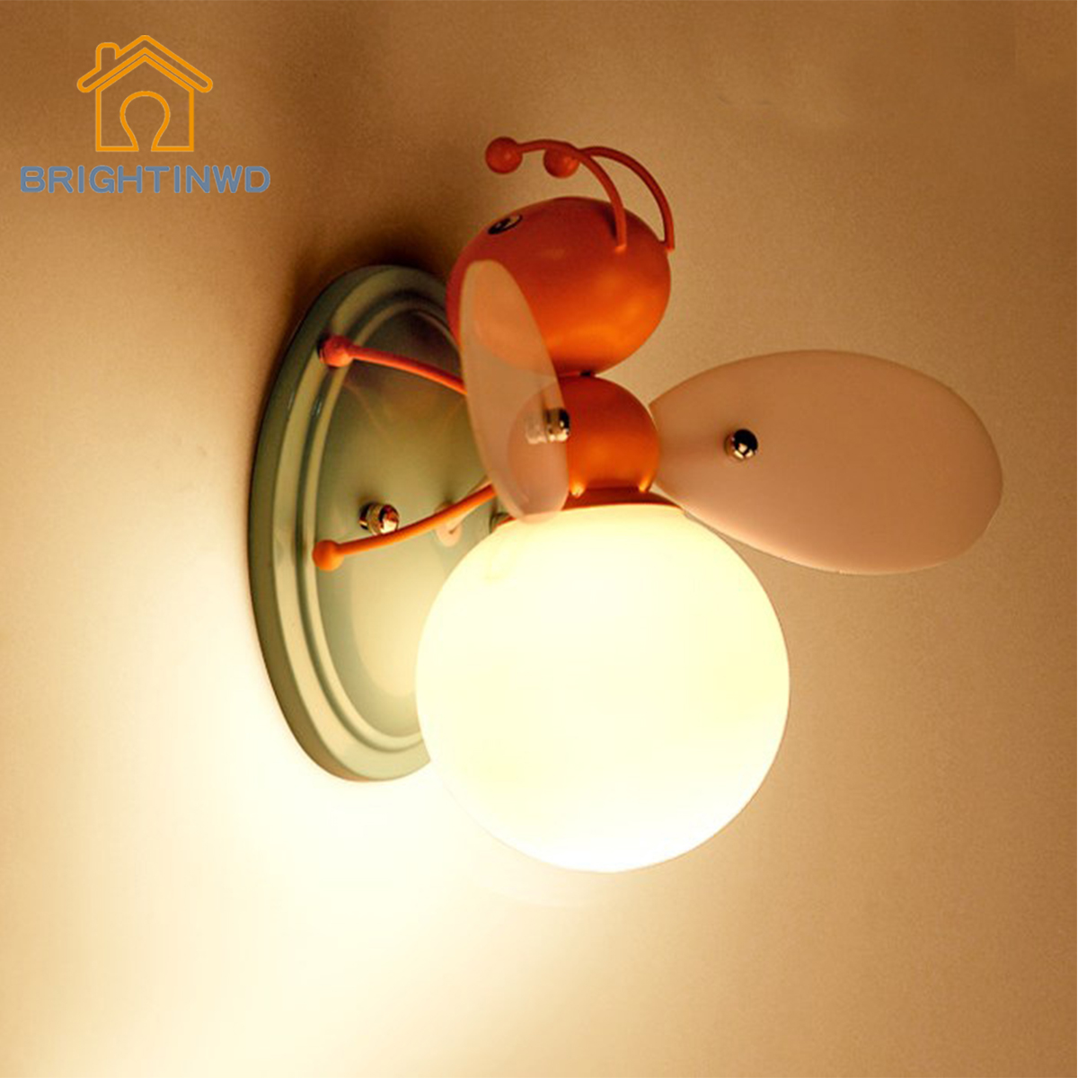 BRIGHTINWD Creative Children's Room Cartoon Boy Girl Bedside Light Decorative LED Cartoon Light Firefly LED Children's Wall Lamp creative cartoon baby cute led act the role ofing boy room bedroom chandeliers children room roof plane light absorption