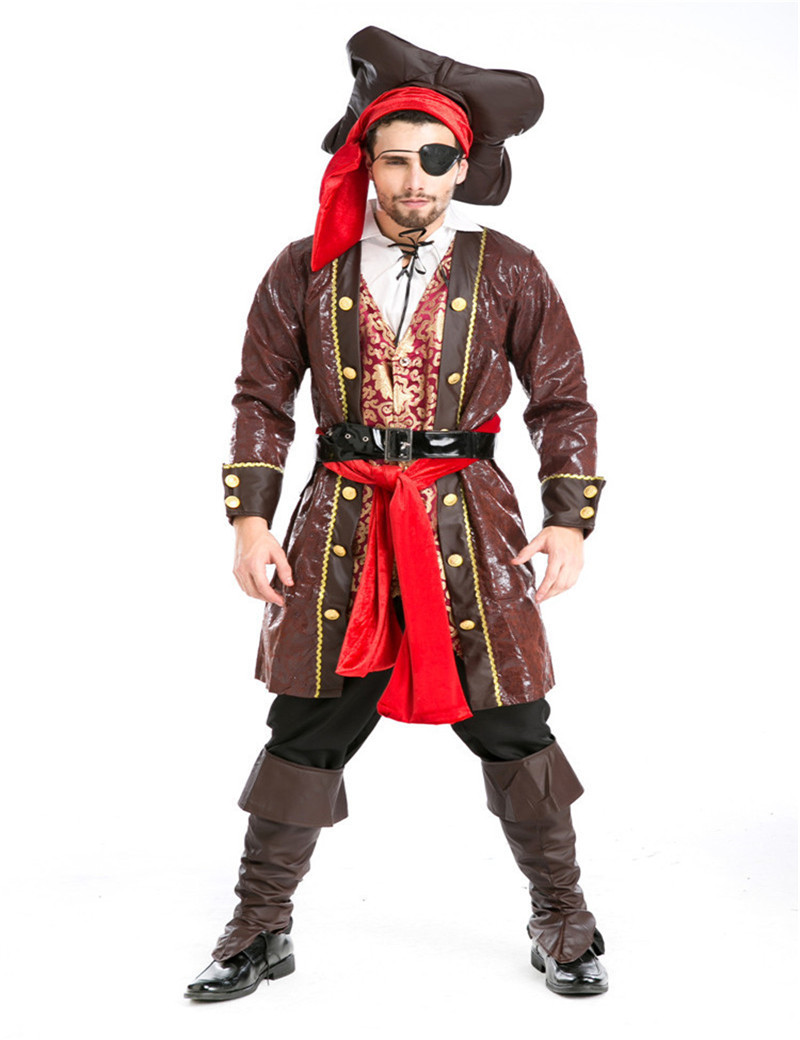 Party performances long font b coat b font Pirates of the Caribbean Captain Jack Cosplay uniforms