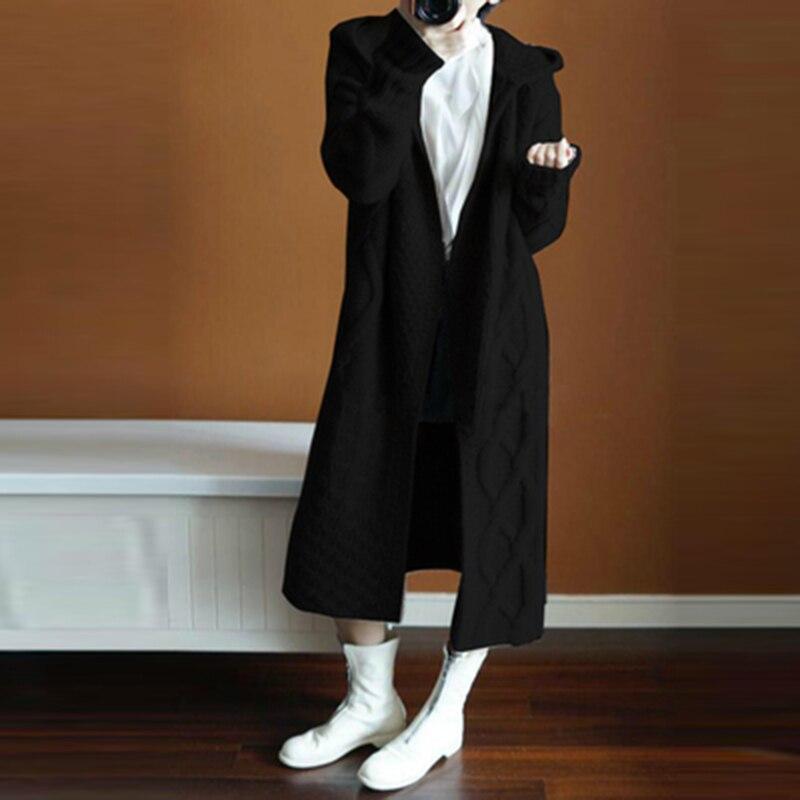 Chandail Long Mode Noir Solide À Hiver Fp1336 kaki Cachemire Capuchon Manteau De gris Doux Automne Épais Cardigan En Nouveau Couleur Femmes wFqaCC8