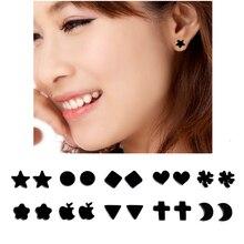 Fake Earrings Studs No Pierced Cross Black Acrylic Magnet Earrings Punk Unisex Men Women Party Jewelry