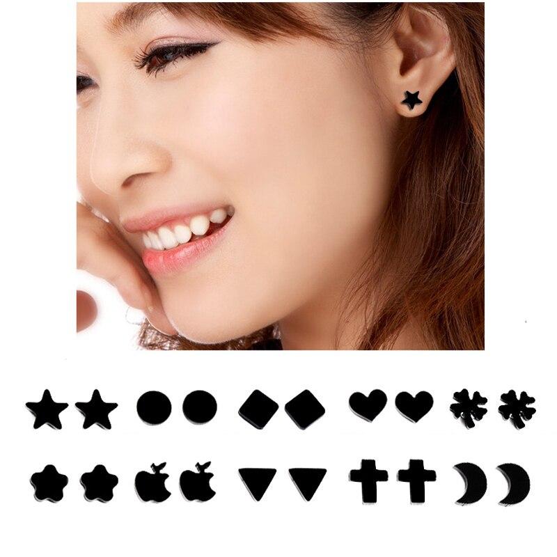 Fake Earrings Studs No Pierced Cross Black Acrylic Magnet Earrings Punk Unisex Men Women Party font