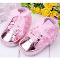 4 Colors Fashion Floral Baby Girl Shoes Anti Slip Baby Princess Shoes Lace Up Baby Moccasins