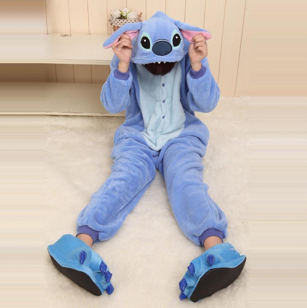 Unisex Adult Couples Cartoon Blue Stitch Onesies Sleepwear Pajamas Autumn Winter Full Sleeve Hooded Costume Pyjamas