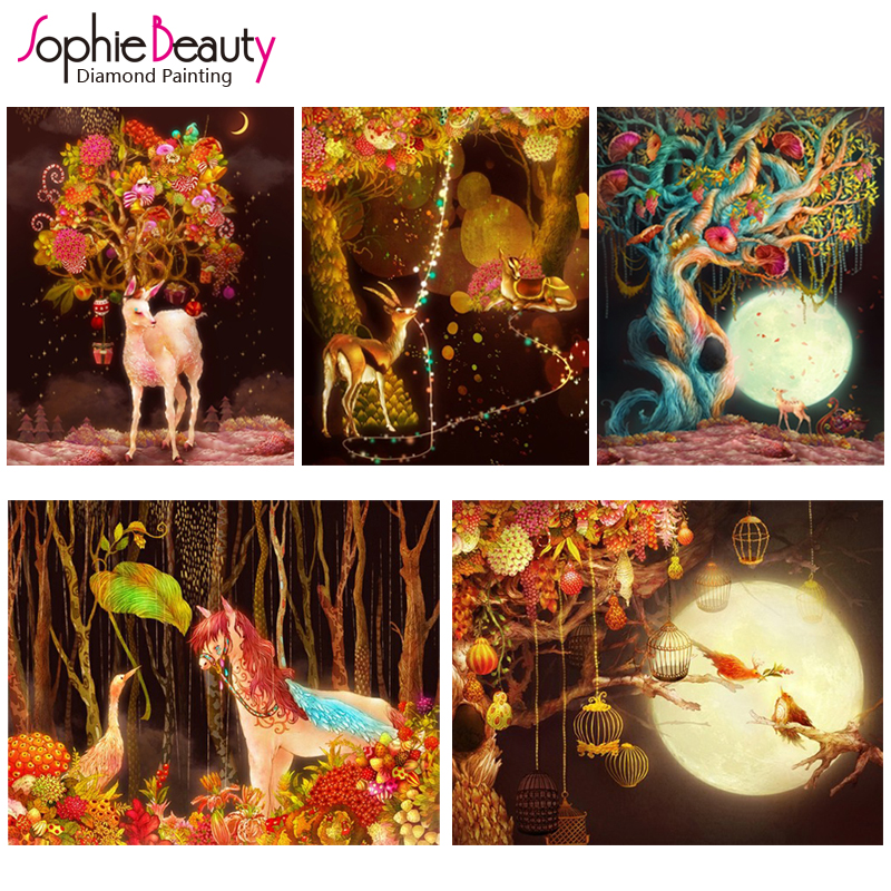 2018 Top Fashion Portrait Europe Diy Diamond Mosaic Painting New Style Cross Stitch Oil Animals Fairy Tale Deer Embroidery