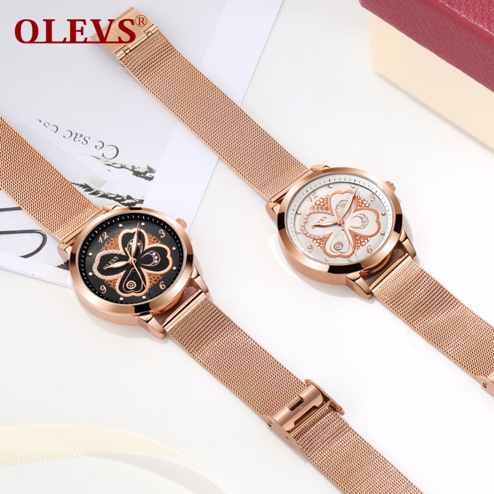 Genuine watch OLEVS Brand Luxury Women Watches Waterproof Rose gold Fashion Casual Ladies Quartz Wristwatch relogio feminino NEW new luxury ceramic watches men s quartz watch ladies fashion brand watches women s bracelets watch rose gold relogio feminino