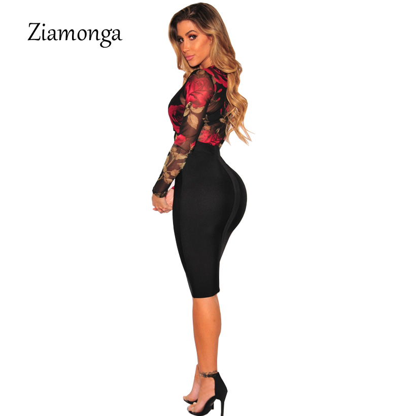 5da33ca61c Ziamonga Women Autumn Floral Print Bodysuit Tops Slim Long Sleeve Bodysuits  Outfits Leotard Tops Shirt Lady Bodycon Body Top-in Bodysuits from Women s  ...