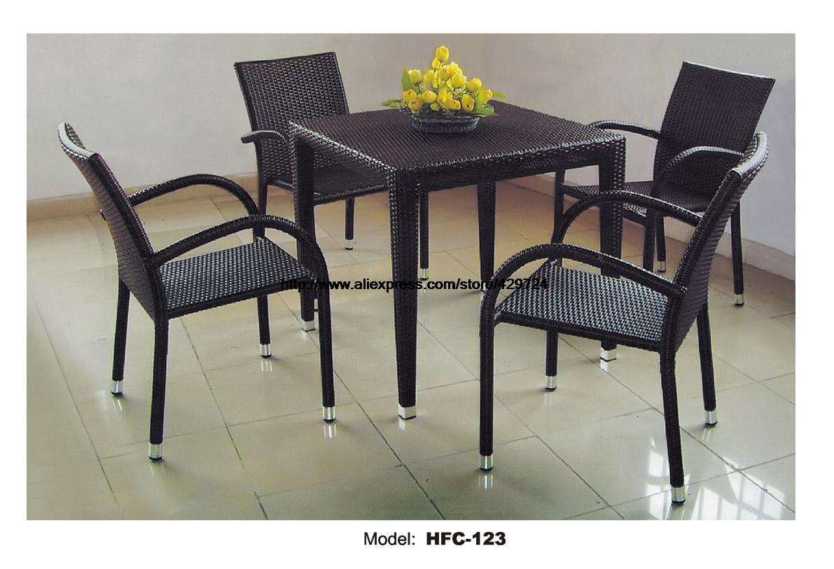 Classic Amrest Chair Square Coffee Table Tea Table Combination Factory Promotion Strong Iron Structure Garden Balcony Furniture