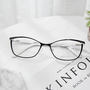 Image 5 - מתכת נשים עין חתול משקפיים מסגרות לנשים בציר משקפיים שקוף שחור ולבן משקפיים מסגרות # TWM7559C2