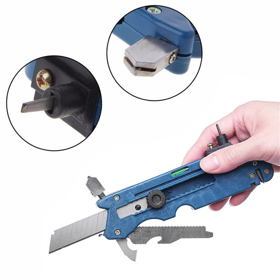 Multifunction Glass Cutter Six Wheel Metal Cutting Kit Tool With Measure Ruler 20 In 1 Tools Cutter