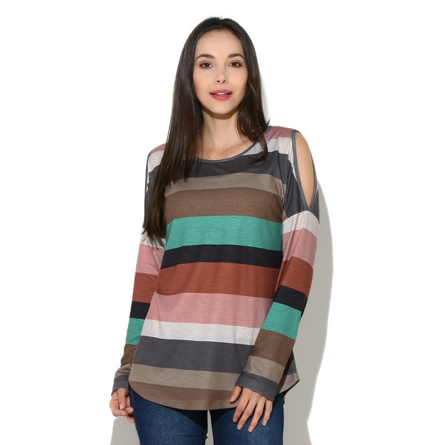 Spring Rainbow Striped T Shirt Women Long Sleeve Cold Shoulder Tops 2018 Loose Tees Sexy Ladies Round Neck Spring Cut Out T-shir