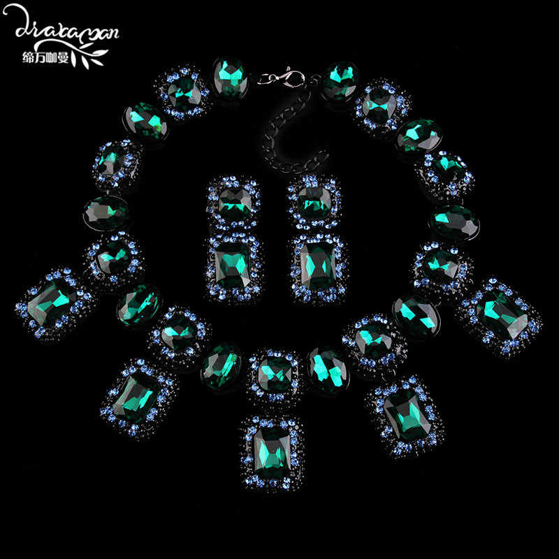 Dvacaman Brand Luxury Fashion Crystal Jewelry Sets Women Wedding Bridal Party Statement Necklace&Earrings Christmas Gifts A30