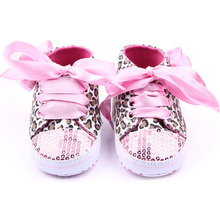 0-12M Newborn Baby Girl Boys Shoes Sequin Leopard Lace Up Non-Slip Sneaker