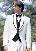 Stylish Nhỏ Cổ Áo Bộ Quần Áo Phù Rể Cho Đám Cưới Men Thời Trang của Prom Tuxedo Trắng Masculino Ternos (Áo + Quần + + Nơ)