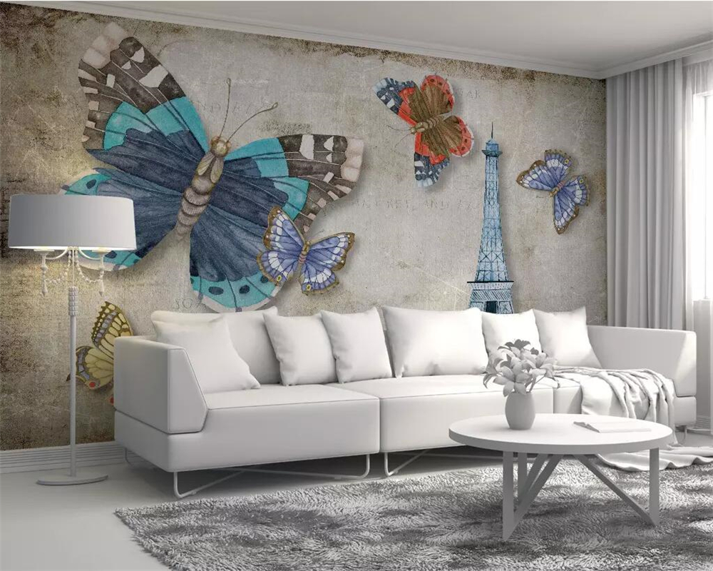Beibehang Custom Wallpaper Modern Retro Vintage Butterfly Paris Tower TV Background Walls Home Decoration Mural 3d Wallpaper