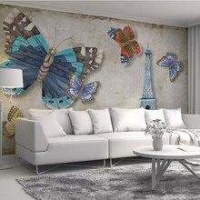 Papel pintado personalizado Beibehang, papel tapiz moderno retro vintage con mariposas, torre de París, Fondo de TV, paredes, decoración del hogar, mural, papel tapiz 3d