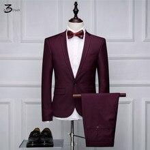 XMY3DWX (jacken + hosen) männer herbst qualität slim Fit high-end anzug/Männliche reine farbe die bräutigam kleid/männlichen klage zweiteilige