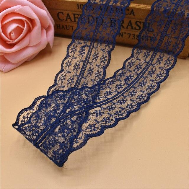 Beautiful 10Yards 45MM Width Dark blue Lace Ribbon DIY Decorative